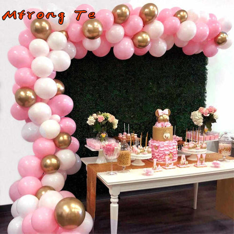 "45pcs latex Balloon Arch Garland Kit Double-Stuffed 5""-18"" Gold Silver pink Confetti Balloons Bulk 16ft for Party Event"