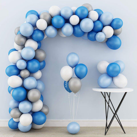 200pcs DIY Blue White Silver Balloon Garland Kit Wedding Decorations Birthday Party Supplies Macaron Latex Wall Balloons