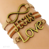 Faith Believe Fearless Bracelets Infinity Love Courage Jesus Loves Me Forgiven Sideways Cross Christian Leather Bracelets