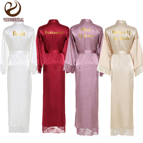Lace Women Robes Plus Size Wedding Party Gift Kimono Satin  Long Robe