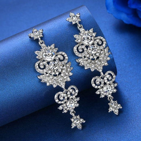 MEC-003 Crystal Bridal Chandelier Long Drop Earrings Wedding Jewelry