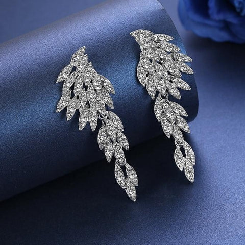 MEC-005 Wedding Jewelry Bridal Long Clip Earrings