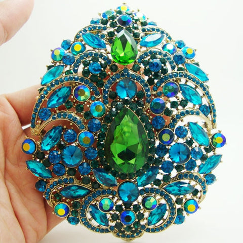 EX Large Art Nouveau Gorgeous Flower Drop Pendant Green Brooch Pin Rhinestone Crystal