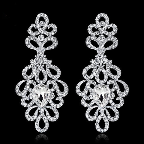 TRZ-001 Luxury Crystal Floral Bridal Long Drop Wedding Earrings Silver