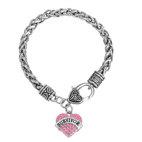 Fishhook European & American Breast Cancer Awareness Crystal Heart Survivor Bracelet Jewelry for women/men High Quality