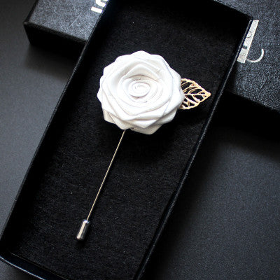 Fabric Rose Flower Boutonniere, Lapel Pin Formal Wear Wedding Prom BOUT-300