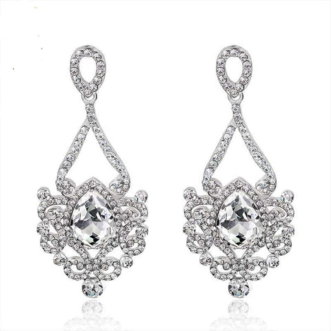 TRZ -005 Bridal Luxurious Floral Teardrop Crystal Earrings Wedding Accessories