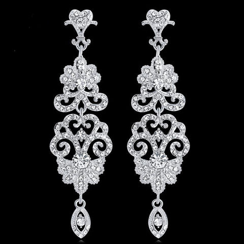 TRZ-009 Chandelier Earrings Crystal Rhinestone Floral Bridal Wedding Jewelry