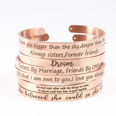 Rose Gold Stainless Steel 6mm Positive Inspirational Bracelet Engraved Quote Mantra Bracelet Open Cuff Bangle For Women Men