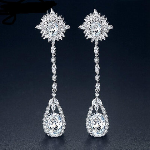MEC-008 Flower Bridal Earrings Long Chain Earrings Wedding Accessories