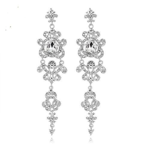 TRZ-003 Chandelier Crystal Long Bridal Wedding Earrings