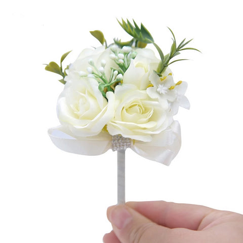 Ivory Lapel Pin Wedding Buttonhole Groomsman Flower Boutonniere Groom  D35