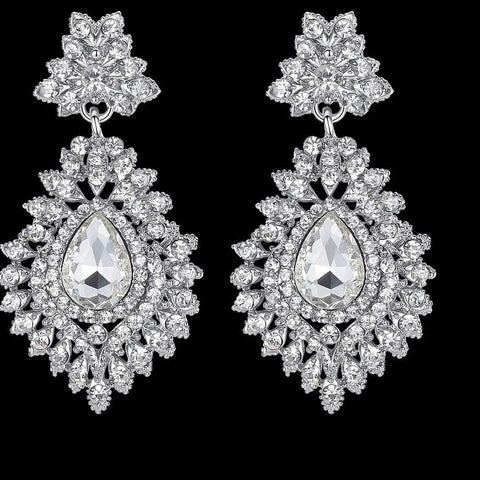 MEC-001 Crystal Wedding Bridal Drop Teardrop Long Earrings Brides Jewelry