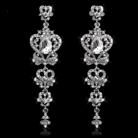 TRZ-007 Chandelier Crystal Bridal Earrings Silver Wedding Jewelry