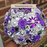LOTTI ~ Purple Satin Roses Brooch Bouquet or DIY KIT