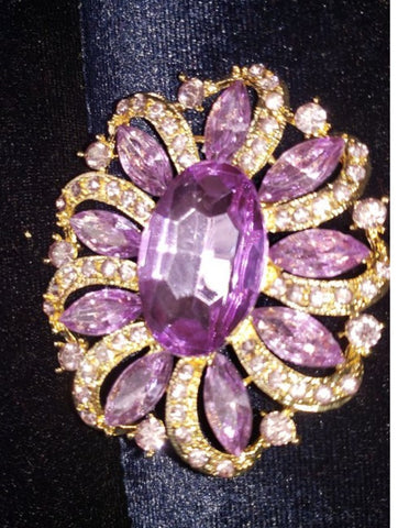 Brooch  Purple  Pendant Pin Rhinestone Crystal BR-997