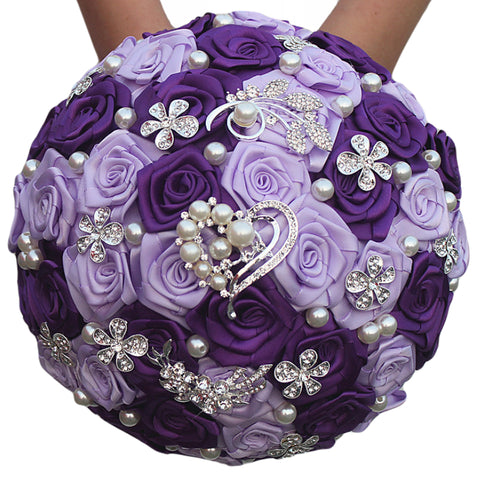 Satin Rose Brooch Bouquet EMR-LILI