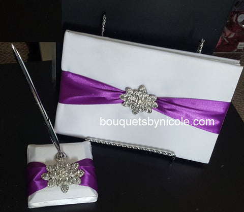 Customized Brooch Wedding Guest Book Pen Set CBP- 001