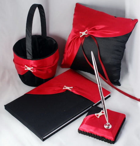 Red & Black Brooch Wedding Flower Girl Basket Pillow Guest Book Pen CBP- 009