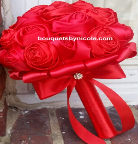 TOSS~EMR Satin Rose Brooch Bouquet or DIY KIT