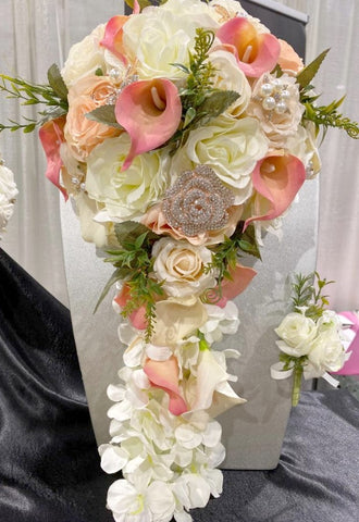 REYNA ~ Cascade Real Touch & Silk Roses Calla Lily Rose Gold Brooch Bouquet