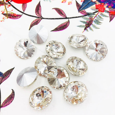 20pcs Round Pointed backs Embellishments Rhinestone BR-052