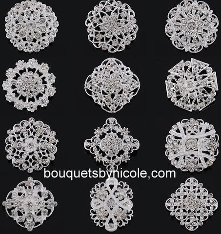 12pcs. Rhinestone Brooches Lots BR-059