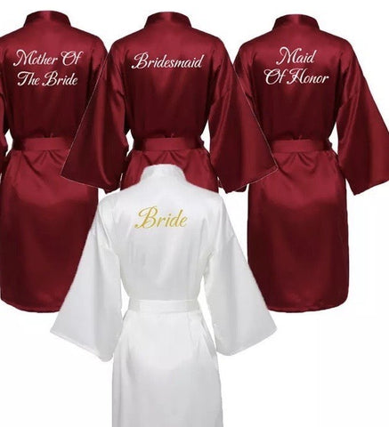 Bridesmaids Satin Robes Wedding Party Gifts Burgundy