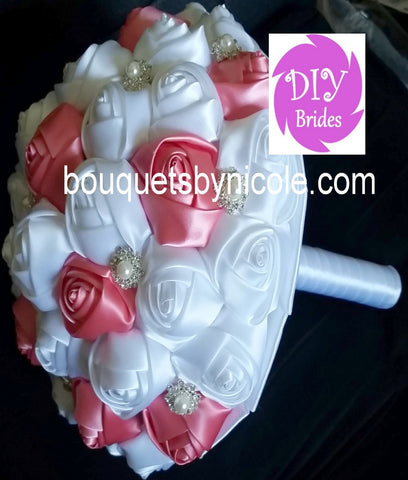 ROSEY ~ Satin Rose Brooch Bouquet or DIY KIT