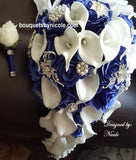 ROYAL ~ Wedding Silk Roses Real Touch Calla Lilies Brooch Bouquet BCUST
