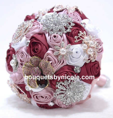 KYLEE~EMR Deluxe Satin Rose Brooch Bouquet or DIY KIT