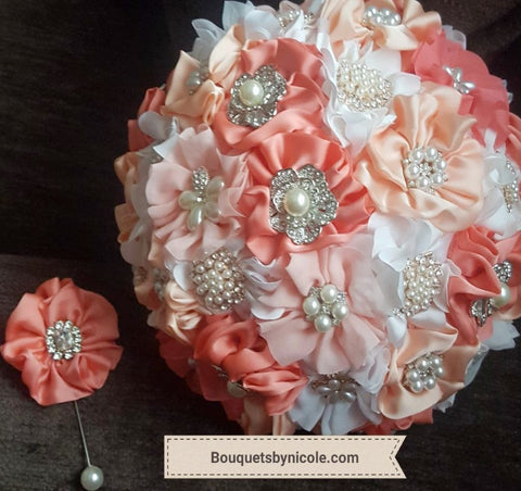SADIE ~ Satin Rose Brooch Bouquet BCUST