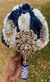 SARI ~ Navy White Real Touch Roses Brooch Bouquet or DIY KIT