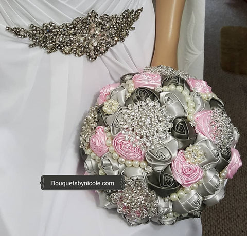 SAVA~EMR Satin Rose Brooch Bouquet or DIY KT