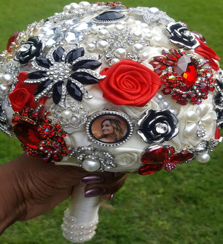 SCARLETT ~ Satin Rose Brooch Bouquet BCUST