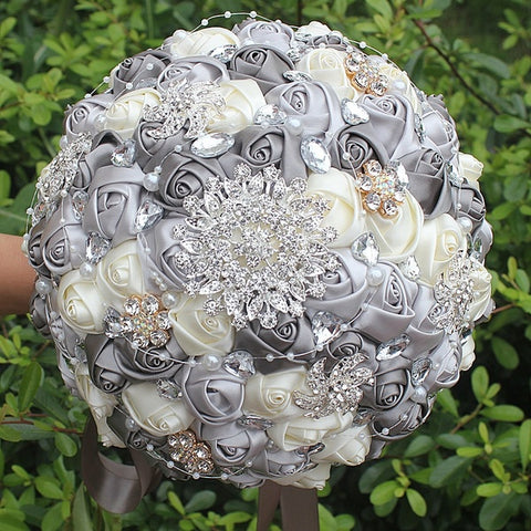 DAISY ~ Satin Roses Brooch Bouquet or DIY KIT ~ DAISY