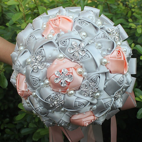 LANAE ~ Satin Roses Brooch Bouquet or DIY KIT