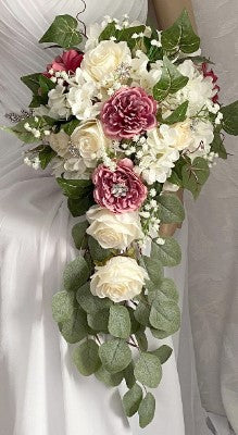 JANET ~ Cascade Waterfall Silk Roses Brooch Bouquet