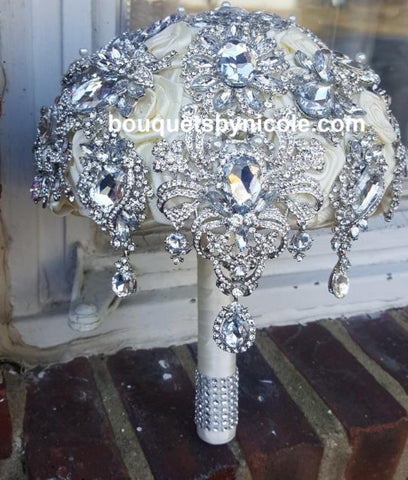 TIA ~Satin Rose Brooch Bouquet BCUST- TIA