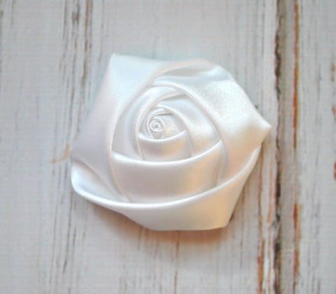Fabric Rose Flower Boutonniere, Lapel Pin Formal Wear Wedding Prom BOUT-989