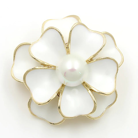 Brooch White Flower Pendant Pin Rhinestone Crystal BR-977