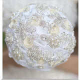 LAYLA~BCUST White Ivory Satin Rose Brooch Bouquet or DIY KIT