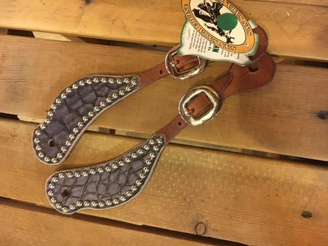 Purple Spur Straps with Silver Dots