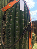 Orange Headstall with Green Bling
