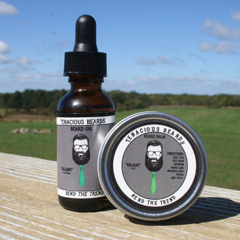 Valiant-Mint Beard Oil & Balm Set - Tenacious Beards