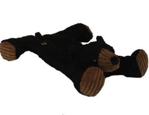 Durable Tuffut Flatties Bear Squeaky Dog Toy, Small