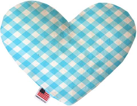 Baby Blue Plaid 6 inch Heart Dog Toy