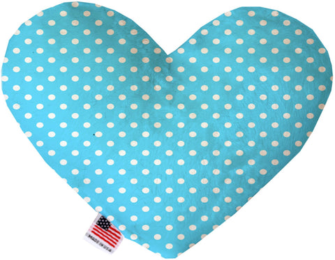 Aqua Polka Dots 6 inch Heart Dog Toy