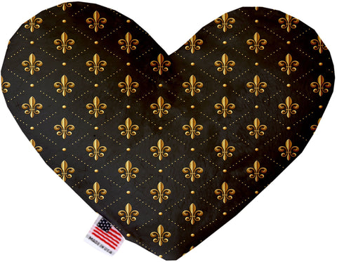 Black and Gold Fleur de Lis 8 inch Heart Dog Toy