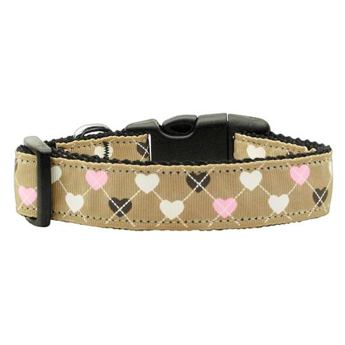 Argyle Hearts Dog Collar - Tan